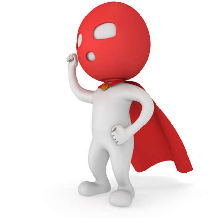hand raised: Man brave superhero with red cloak and sign of victory - right hand raised up clenched fist. Isolated on white 3d render.