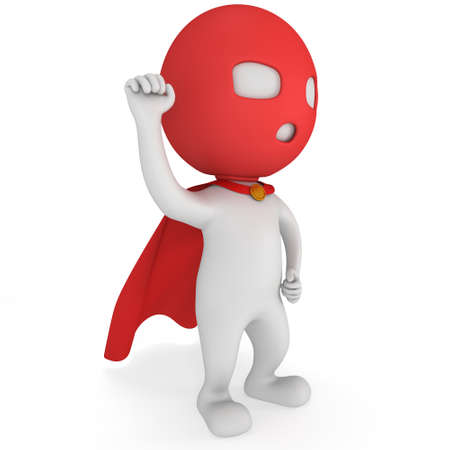 pathetic: Man brave superhero with red cloak and sign of victory - right hand raised up clenched fist. Isolated on white 3d render.