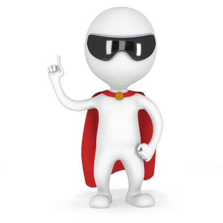 Man dappere superheld met rode mantel en de mededeling gebaar. Geïsoleerd op wit 3D renderen. Stockfoto