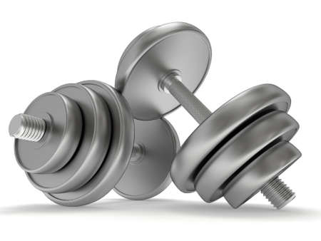 workout gym: Metal Dumbbells. 3d render isolated on white. Stock Photo
