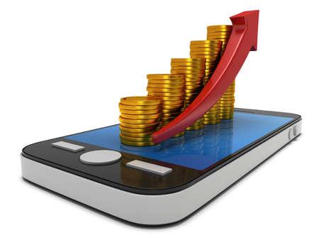 スマート フォンの赤い矢印を表す棒グラフの金貨します。モバイル アプリやお金の概念。3 D レンダリングで孤立した白い背景