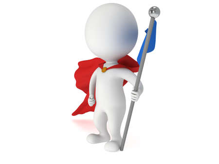 bossy: Checkpoint flag and proud winner superhero. 3d render isolated on white. Stock Photo