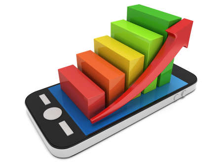 smartphone apps: 3d colored bar graph with red arrow growing up on smartphone. Mobile apps concept. 3D render isolated on white background Stock Photo