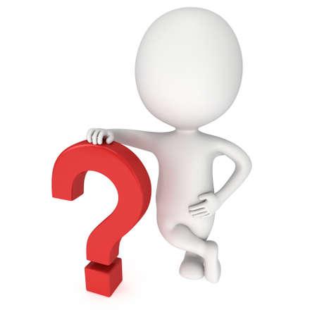 interrogative: El hombre se apoya en signo de interrogaci�n rojo. 3D render aislado en fondo blanco. Concepto de preguntas frecuentes.