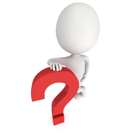 interrogative: Man rests on red question mark. 3D render isolated on white background. FAQ concept.