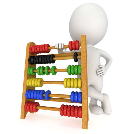 3d man with wooden colorful toy abacus learn counting. 3d render isolated on white. Education concept. Reklamní fotografie - 42915845