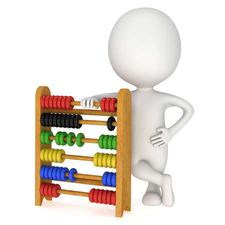3d mens met houten kleurrijke stuk speelgoed telraam leert tellend. 3D render geïsoleerd op wit. Onderwijs concept.