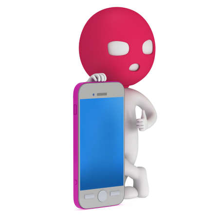 cyber terrorism: 3d thief stand with smartphone. Thumbs up. Render isolated on white. Cybercrime concept.