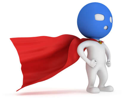 vigilante: 3d man brave superhero with red cloak and blue mask. Isolated on white Stock Photo