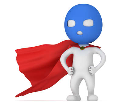 avenger: 3d hombre valiente superh�roe con capa roja y azul m�scara. Aislado en blanco Foto de archivo