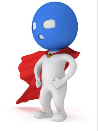 avenger: 3d hombre valiente superhéroe con capa roja y azul máscara. Aislado en blanco Foto de archivo
