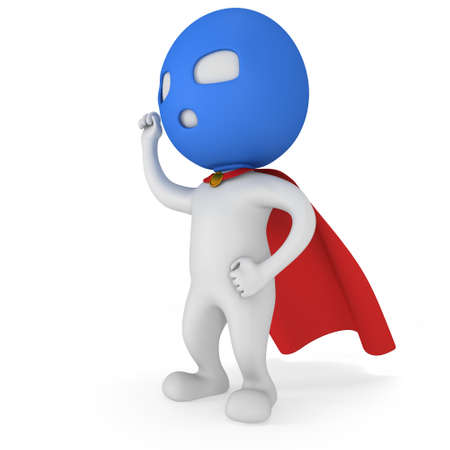 vigilante: Man brave superhero with red cloak and sign of victory - right hand raised up clenched fist. Isolated on white 3d render.