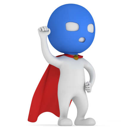 brave: Man brave superhero with red cloak and sign of victory - right hand raised up clenched fist. Isolated on white 3d render.