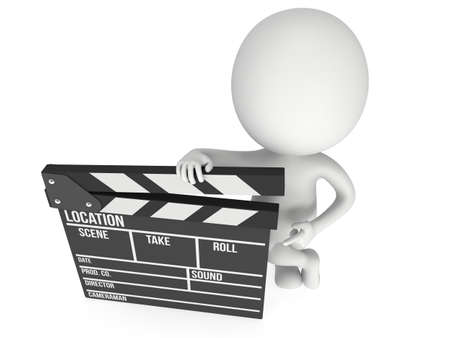 filmmaking: Man with cinema clapperboard. 3D render isolated on white. Filmmaking and video production.