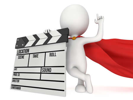 filmmaking: Brave superhero with cinema clapperboard. 3D render isolated on white. Filmmaking and video production. Stock Photo