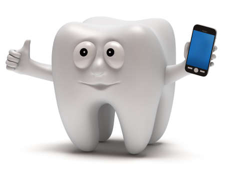 buccal: Happy tooth with smartphone. Dental concept. 3D render isolated on white.