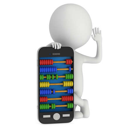 scores: Man near smartphone with abacus scores screen. 3d render isolated on white. Stock Photo