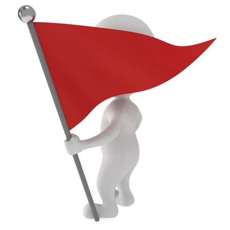 truce: Man, holding a flag with red banner. 3d render isolated on white background. Stock Photo