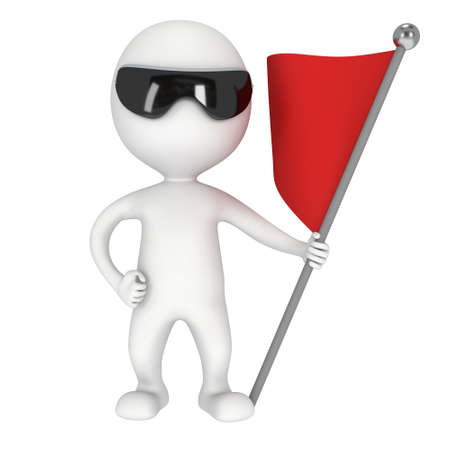 rebellion: Man with sunglasses, holding a flag with red banner. 3d render isolated on white background.