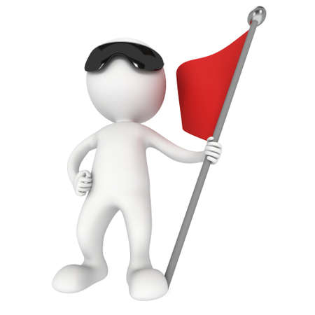 truce: Man with sunglasses, holding a flag with red banner. 3d render isolated on white background.