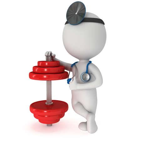3D-weiße Menschen Arzt mit einem Stethoskop und roten Hantel. 3d render isoliert auf weiß. Fitness und Physiotherapie-Konzept.
