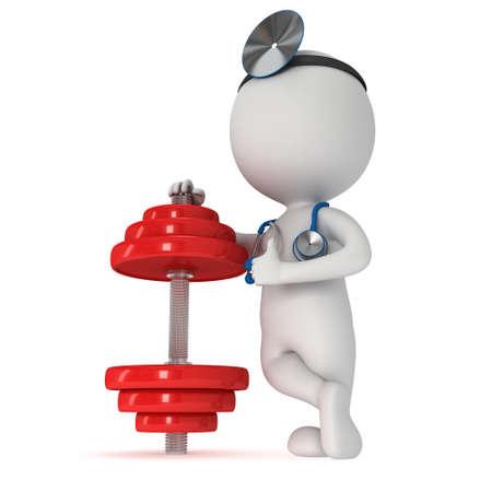 3d blanken arts met een stethoscoop en rode halter. 3d render geïsoleerd op wit. Fitness en fysiotherapie concept.