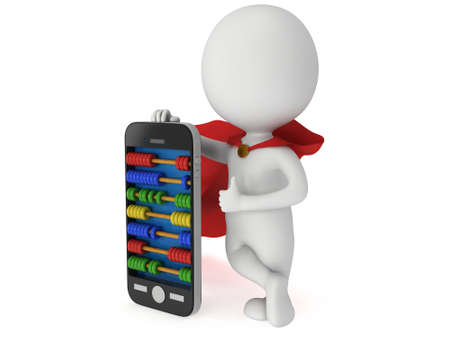 scores: Superhero near smartphone with abacus scores screen. 3d render isolated on white.