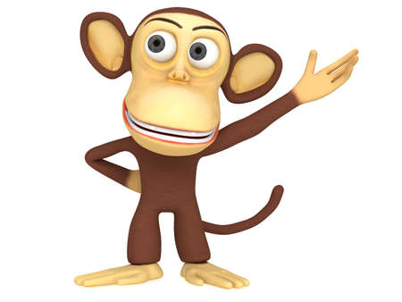 gaze: 3d cute monkey presenting something. 3D render isolated on white.