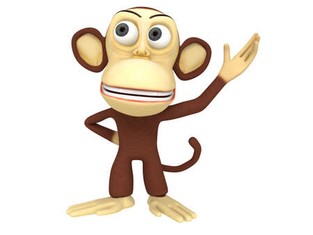 3d cute monkey presenting something. 3D render isolated on white.