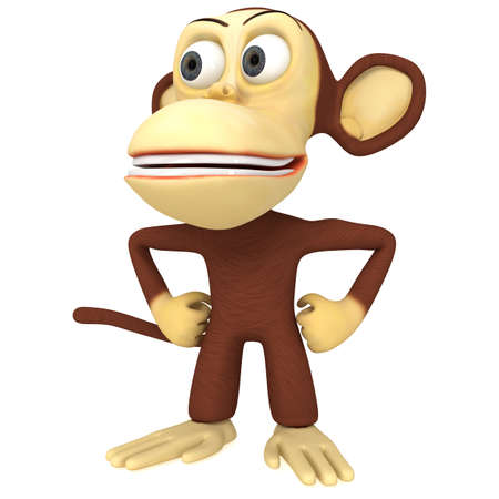 arms akimbo: 3d cute monkey with arms akimbo. 3D render isolated on white. Stock Photo