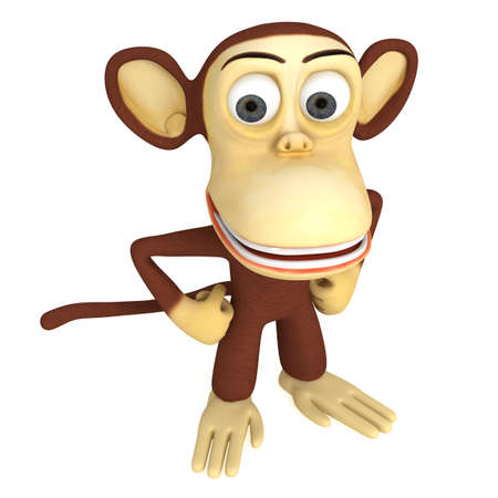 mani sui fianchi: 3d cute monkey with arms akimbo. 3D render isolated on white. Archivio Fotografico
