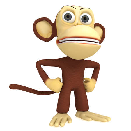 akimbo: 3d cute monkey with arms akimbo. 3D render isolated on white. Stock Photo