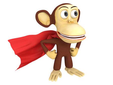 mani sui fianchi: 3d supereroe scimmia con braccia sui fianchi. 3D rendering isolato su bianco. Archivio Fotografico