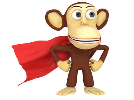 gaze: 3d superhero monkey with arms akimbo. 3D render isolated on white.