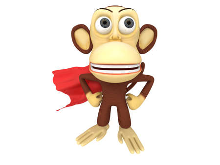 akimbo: 3d superhero monkey with arms akimbo. 3D render isolated on white.