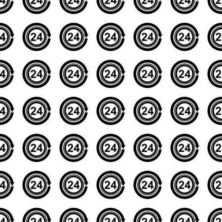 24 hours: Open around the clock, 24 hours vector icon seamless pattern, tiling ornament on white. Illustration