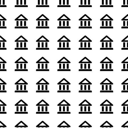 governmental: court building icon seamless pattern, tiling ornament on white.