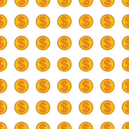 monet: Dollars money coin icon seamless pattern, tiling ornament on white.