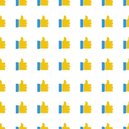 like hand: like hand icon seamless pattern, tiling ornament on white. Illustration