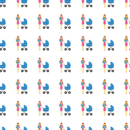 single mother: Family icon seamless pattern, tiling ornament on white.