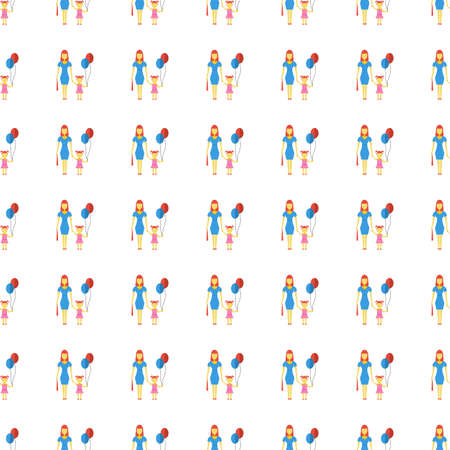 babygirl: Family icon seamless pattern, tiling ornament on white.