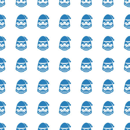 Santa Claus Face icon seamless pattern, tiling ornament on white.
