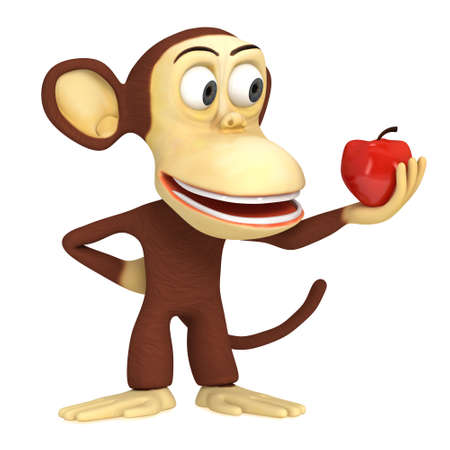 3d cute monkey with red apple. 3D render isolated on white.