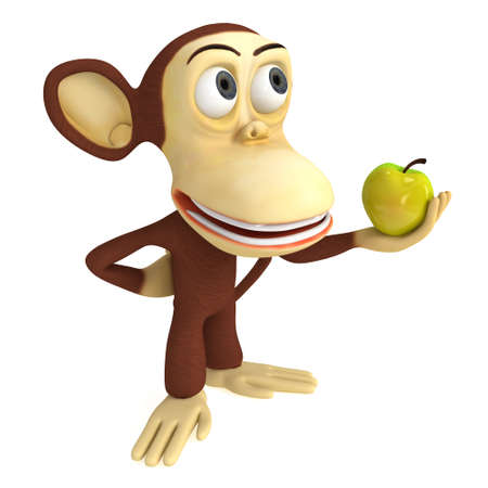 3d funny monkey with yellow apple. 3D render isolated on white.