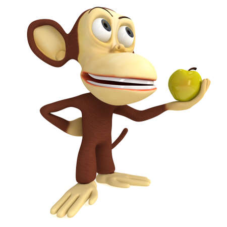 yellow apple: 3d funny monkey with yellow apple. 3D render isolated on white.