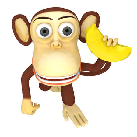 flesh colour: 3d funny monkey with banana. 3D render isolated on white. Stock Photo