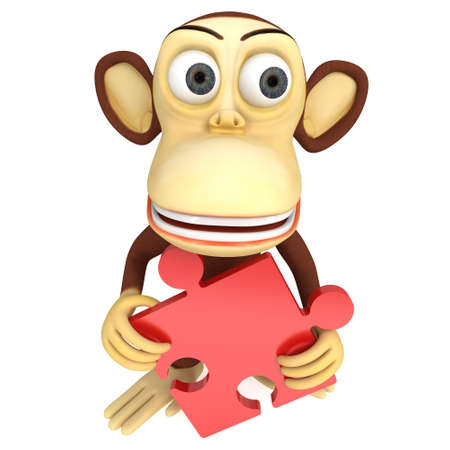 baboon: 3d cute monkey with red puzzle. 3D render isolated on white. Stock Photo