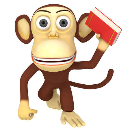 epublishing: 3d funny monkey with red book. 3D render isolated on white. Stock Photo