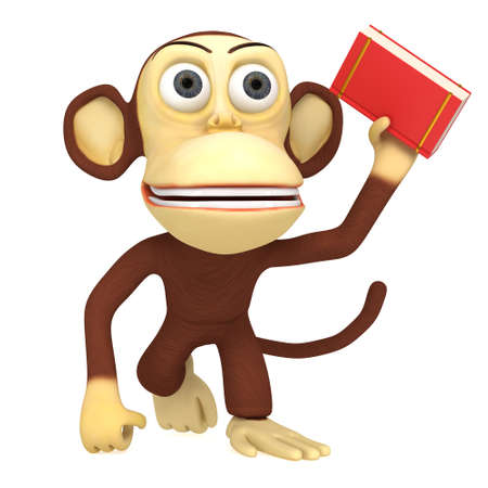 electronic publishing: 3d funny monkey with red book. 3D render isolated on white. Stock Photo