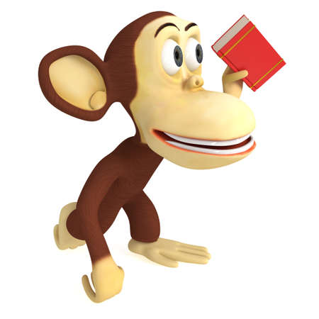 videobook: 3d funny monkey with red book. 3D render isolated on white. Stock Photo